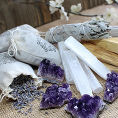 Herb and Crystal Set Home Gift Cleansing Crystals and Sage Kit