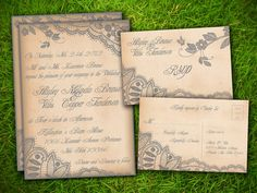 Wedding invitation non formal wedding invitation funny creative vintage rustic elegant floral lace personalized formal wedding invitation and rsvp card suite diy printable double sided by vintage bells and co stopboris Choice Image