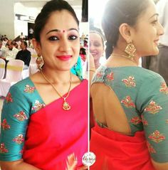 to my ready butta saree Choli Designs, Blouse Neck Designs, Blouse Patterns, Blouse Styles, Saree Trends, Blouse Models, Fancy Sarees, Indian Designer Wear, Work Blouse