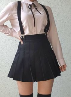 Image in Moda/Fashion collection by Anna Clara Santos Fraccaro Discovered by Find images and videos about fashion, style and clothes on We Heart It - the app to get lost in what you love. Edgy Outfits, Korean Outfits, Grunge Outfits, Skirt Outfits, Cool Outfits, Fashion Outfits, Korean Clothes, Kawaii Fashion, Cute Fashion
