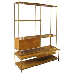 Paul McCobb for Calvin room divider in brass and mahogany ca.1950's.