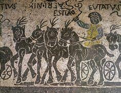 A Quadriga (mosaic). Roman, (4th century AD) / Museo Nazionale Romano, Rome, Italy