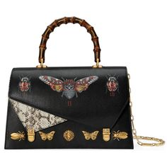 Gucci Ottilia Leather Top Handle Bag featuring polyvore women's fashion bags handbags black top handles & boston bags women man bag gucci handbags studded purse animal print handbags bamboo handle handbag