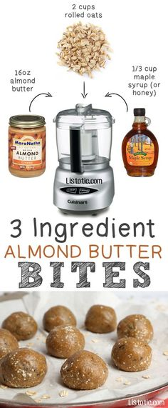 #5. 3 Ingredient Almond Butter Bites (could also use peanut butter) -- These are so GOOD! They're like high protein energy bites. | 6 Ridiculously Healthy Three Ingredient Treats