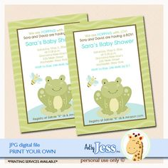 EDITABLE TEXT Frog Wiggle frog baby shower invitation. Type the words right over the invitations, save and print!