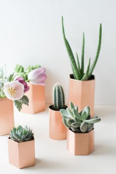 DIY metallic geometric planters.