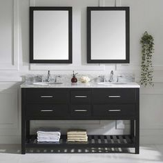 Virtu USA Caroline Estate 60 in. Double Bathroom Vanity with Round Sink