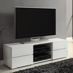 """Coaster White Four Storage Drawer TV Console for TVs up to 55"""""""