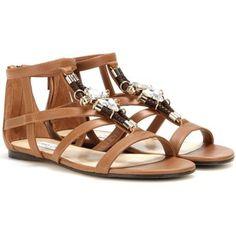 Jimmy Choo Nano Flat Embellished Leather Sandals