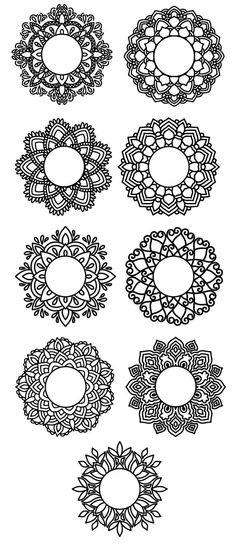 Mandala monogram svg, Mandala frame, Circle monogram svg, Cut files for Cricut, Files for Silhouette Cameo Mandala Sun Tattoo, Mandala Doodle, Henna Mandala, Mandala Drawing, Circle Monogram, Monogram Frame, Henna Tattoo Designs, Mehndi Designs, Mandala Pattern