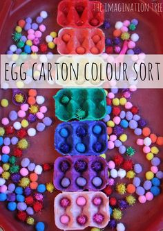 Sort coloured pom poms into matching rainbow coloured egg cartons! Fine motor skills, colour recognition & early sorting for toddlers & preschoolers