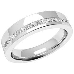 A breathtaking offset ladies diamond set wedding ring in platinum