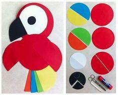 Pappagalli....lavoretto facile facile per i bambini della prima ....ho usato la fustella circles della Big shot...carini veroooo......
