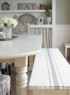 LOVE this whole room! City Farmhouse: Dining Room Reveal LOVE the French grain sack painted bench <3