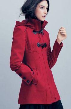 cherry red duffle coat