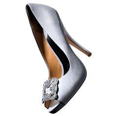 Brides.com: Style Inspiration: Ballroom Wedding. PUMPS. $245, Badgley Mischka, Heels.com