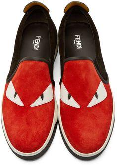 Fendi Red Suede Slip-On Bugs Sneakers