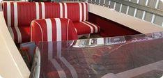 Boat seat upholstery - retro red and white - Gold Coast Marine Upholstery Marine Carpet, Retro Diner, Boat Seats, Boat Covers, Gold Coast, Seat Cushions, Red And White, Upholstery, Colours