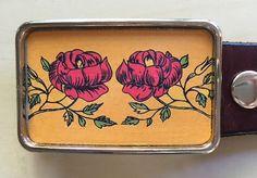 Vintage Red Rose Belt Buckle
