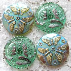 Vintage Glass Buttons from Crazy Cakes / Silver Parrot