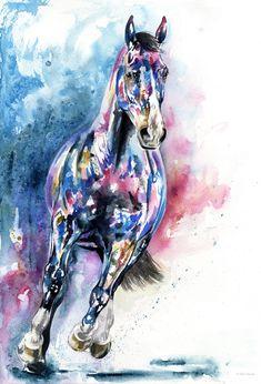 blue and pink contemporary watercolour, modern animal art by Chloe Brown. Chloe Brown, Brown Art, Contemporary Artwork, Horse Art, Pet Portraits, Watercolour, Original Artwork, Wildlife, Horses