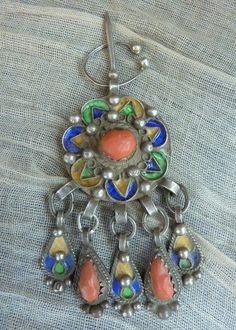 Kabyle silver, enamel and coral Fibula. Algeria   © Kim Price
