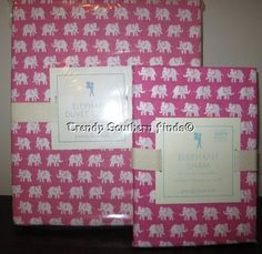 2P Pottery Barn Kids BRIGHT PINK ELEPHANT Print Duvet Cover STANDARD Sham TWIN