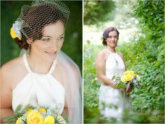 I did Stephanie's hair and make-up.  I love the birdcage veil!  She let me use some creative ideas for the flowers.  I love when I can do that!