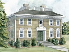 Georgian styled houses- The symmetrical balance with the formal look gives the style. The classic English plain colors gives the older look.