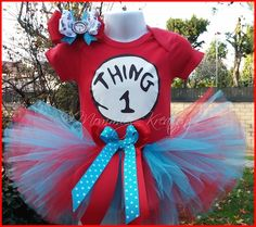 Thing 1 Thing 2 tutu set, Dr Seuss Birthday Outfit,