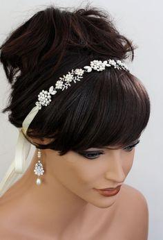 Wedding Headband, Ribbon Headband Bridal Headband Pearl Rhinestone Hair accessory Swarovski Crystal Vintage Bridal ALICE RIBBON.