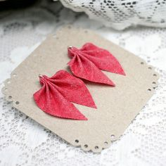 These chic stud earrings are made from recycled fabric and silver. Avaliable in more than 20 different colours! Handmade in Finland. Recycled Fabric, Different Colors, Stud Earrings, Colours, Silver, Red, Handmade, Image, Hand Made