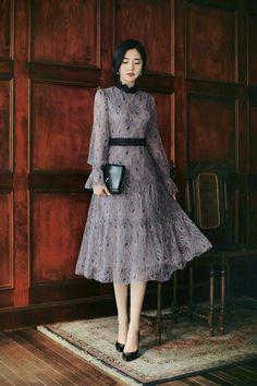 Simple Dresses, Elegant Dresses, Pretty Dresses, Vintage Dresses, Casual Dresses, Dresses Dresses, Korean Fashion Dress, Ulzzang Fashion, Modest Fashion