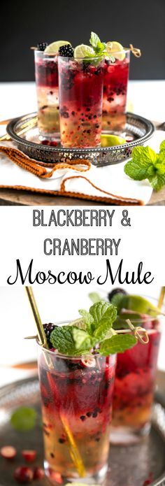 Blackberry Cranberry Moscow Mule #cocktail #vodka #moscowmule #gingerbeer #cranberries #blackberries