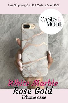 White Marble Rose Gold Chrome iPhone Case My favorite iPhone marble smartphone mobile cell phone case ever! I love the gorgeous white & rose gold … Girly Phone Cases, Phone Covers, Samsung Cases, Iphone Cases, Iphone Phone, Rose Gold Iphone Case, Gifts For Techies, Technology Gifts, Phone Cases Marble