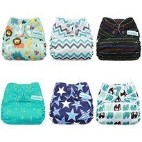 6 Pack with 6 One Size Microfiber Inserts Veggie Lover Mama Koala One Size Baby Washable Reusable Pocket Cloth Diapers