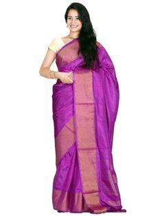 Purple Uppada Silk Handloom Plain Saree with Big Border
