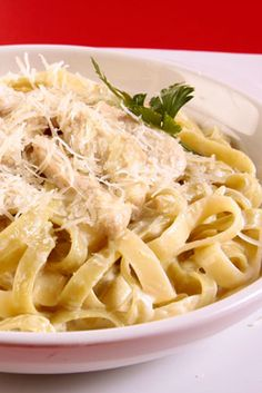 Chicken Fettuccine Alfredo Chicken Fettuccine Alfredo is a family favorite. | This creamy, #cheesy Alfredo dish serves perfectly with a side salad. #eDiets
