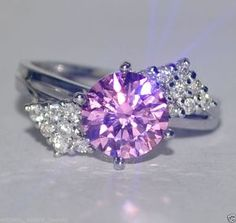 $0.99 Auction 2.40 REAR PINK SOLITAIRE DIAMONDLITE 18k GOLD/5.010gm RING/US 7.75 #ejewelbay #SolitairewithAccents