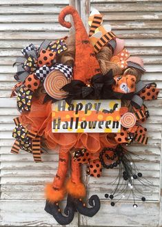 Halloween Witch Wreath, Witch Decor, Front Door With Wreath by WreathDecorbySusan on Etsy Halloween Witch Wreath, Halloween Fabric, Halloween Signs, Halloween Crafts, Halloween Ideas, Halloween 2019, Halloween Costumes, Disney Halloween Decorations, Holiday Decorations