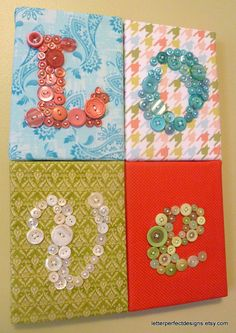Wall Art Button Art Nursery Letter Art by letterperfectdesigns
