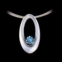 Eclipse Blue Topaz Pendant by Adam Neeley Blue Topaz Necklace, Gold Bar Necklace, Silver Necklaces, Sterling Silver Pendants, Silver Rings, Jewelry Necklaces, Gold Pendants, Modern Jewelry, Jewelry Art