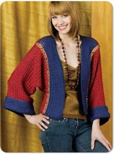 Enjoy a peaceful Japanese afternoon wearing this stylish Kimono Shrug. The free crochet pattern includes directions on how to make this shrug in four different sizes. It is intended to be a loose fitting garment.