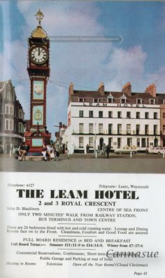 1969, Leam Hotel, Weymouth.'fitted with hot and cold running water.' I just love these old ads. Still a hotel