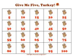 Thanksgiving Math Activities: Printable Counting by 5's Chart  www.loving2learn.com