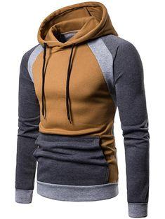 Color Blocking Casual Drawstring Hoodie Light Brown Size M Tactical Clothing, Men's Clothing, Winter T Shirts, Mens Fashion Wear, Punk Fashion, Lolita Fashion, Track Suit Men, Fleece Hoodie, Hoodie Jacket