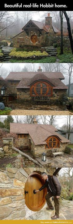 Funny pictures about Real life hobbit home. Oh, and cool pics about Real life hobbit home. Also, Real life hobbit home. Beautiful Homes, Beautiful Places, Unusual Homes, Cabins And Cottages, Log Cabins, Earthship, Little Houses, The Hobbit, Hobbit Door