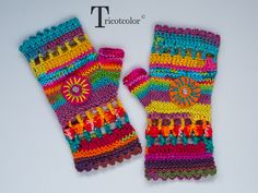 Tricotcolor: I think and then I forget . Crochet Mittens Free Pattern, Form Crochet, Granny Square Crochet Pattern, Diy Crochet, Crochet Crafts, Knitting Patterns, Crochet Patterns, Fingerless Mittens, Knitted Gloves