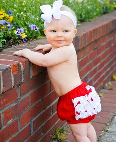 RuffleButts.com - When you are thinking about how to dress your princess this Independence Day, look no further than our Red w/White Ruffles RuffleButt / Baby Bloomer $19.00