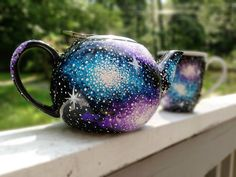 Hand painted galaxy tea pot and ceramic mug by ArianaVictoriaRose, $38.00